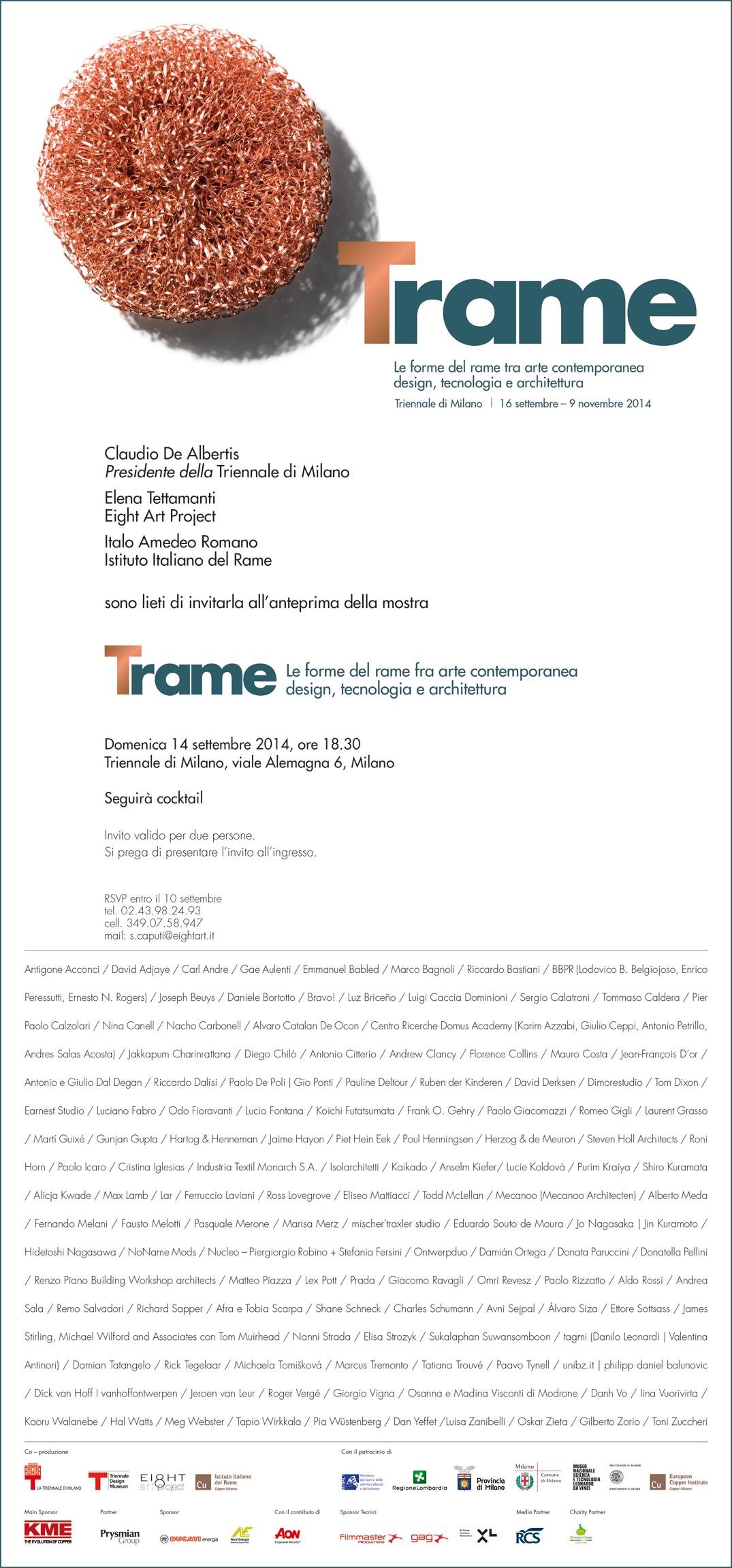 Trame le forme del rame tra arte contemporanea design for Istituto grafico pubblicitario milano