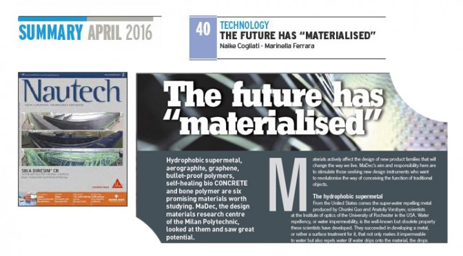 "The future has ""materialised"" pubblicato sulla rivista Nautech!"
