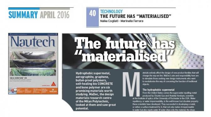 """The future has """"materialised"""" pubblicato sulla rivista Nautech!"""